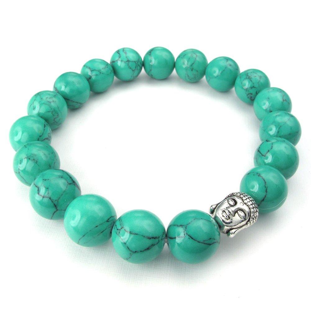 TEMEGO Jewelry Womens Mens Natural Energy Stone Classic Beads Stretch Bracelet, Link Wrist Buddha Mala Bracelet, Acid Blue Silver,10-12mm