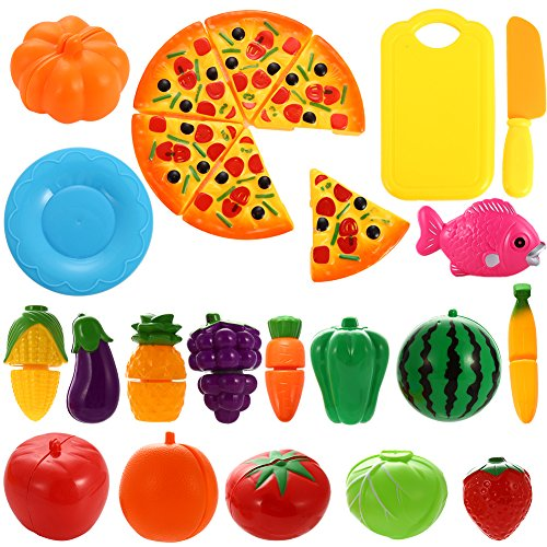 Emorefun 24 pcs Pretend Food Playset, Plastic Kitchen Cutting Fruits and Vegetables Set with Pizza Play Food Set for Educational Early Age Puzzle Development Learning Toy