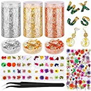 Resin Accessories Decoration Kit with Dried Flowers and Gold Foil Flakes, Audab 130 Pcs Natural Dry Flowers with Gold…