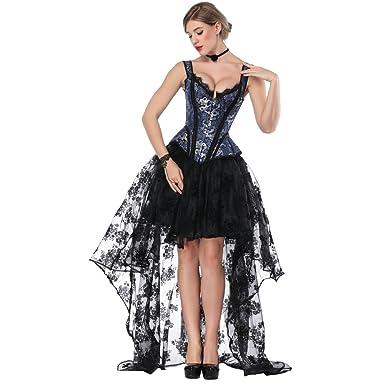 das beste im Angebot Billiger Preis FeelinGirl Damen Korsagekleid Steampunk Gothic Kostüm Magic Mistress  Hexenkostüm Teufelchen Halloween Cosplay Priatbraut