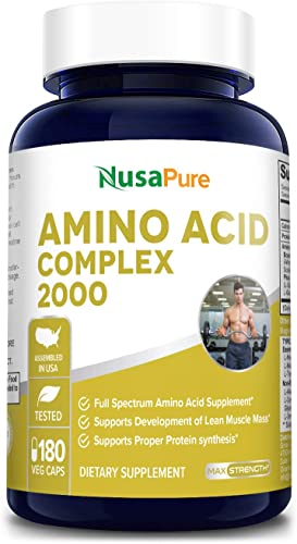 Amino Acid Complex Blend 2000 mg 180 Vegetarian Caps Non-GMO Gluten Free Build Muscle, Improve Recovery and Increase Endurance