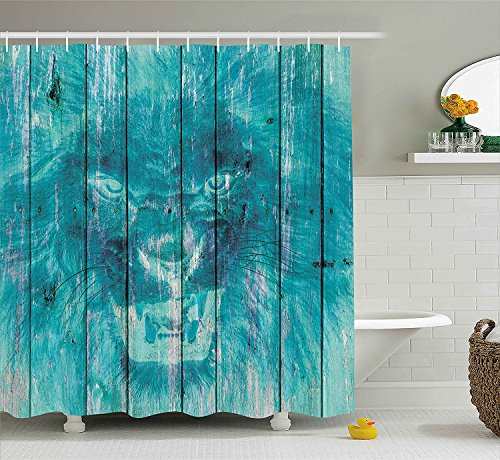 Animal Decor Shower Curtain Silhouette of a King Lion Tiger onWooden Oak Planks Hippie Style Retro Image Fabric Bathroom Decor Set with Hooks Cadet