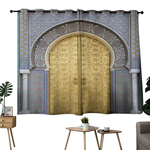 bybyhome Moroccan Grommets Indoor Darkening Curtains Antique Doors Morocco Gold Doorknob Ornamental Carved Intricate Artistic Set of 2 Panels Yellow Teal Blue W63 x L45