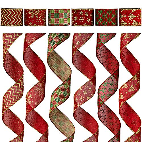 Alonsoo Wired Christmas Burlap Ribbon, Holiday Christmas Design Decorations Wrapping Ribbons Assorted Classic Rustic Fabric Handcraft Gift, 36 Yards (6 Roll x 6 yd) by 2.5 inch, Red/Green