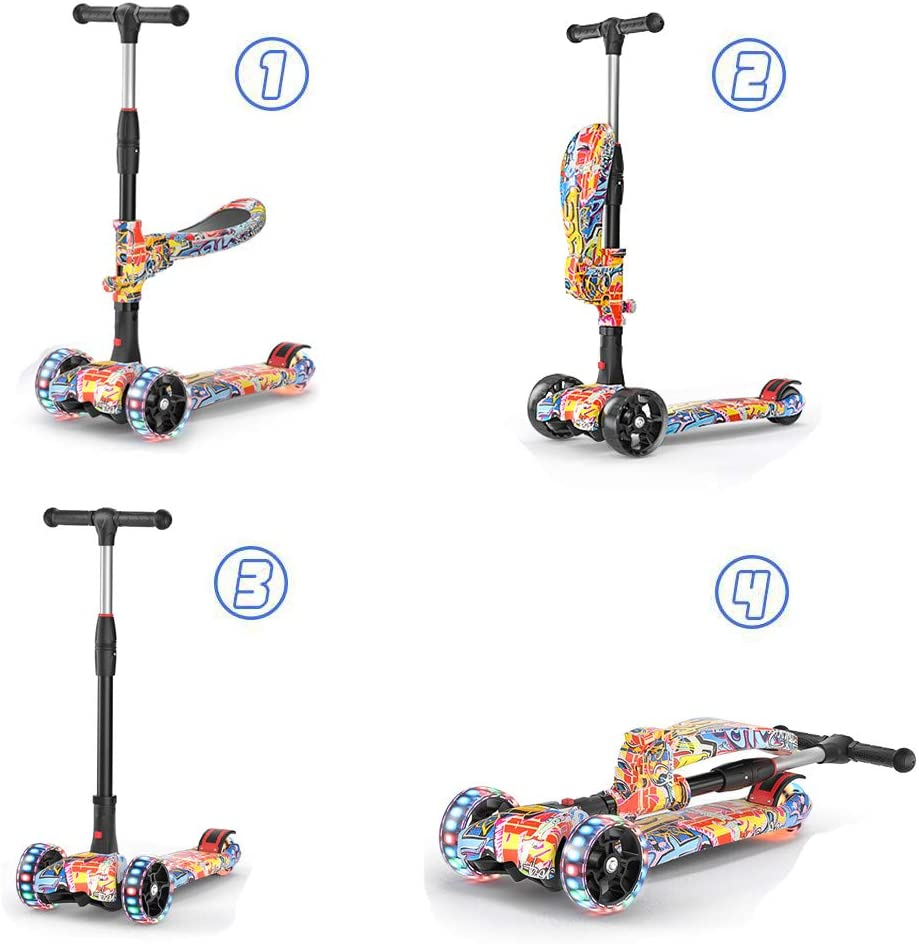 Airgymfactory 2-in-1 3 Wheel Scooter for Kids with Removable Seat Toddlers Kick Scooter for Kids for Kids,4 Adjustable Height Lean to Steer with PU LED Light Up Wheels for Children