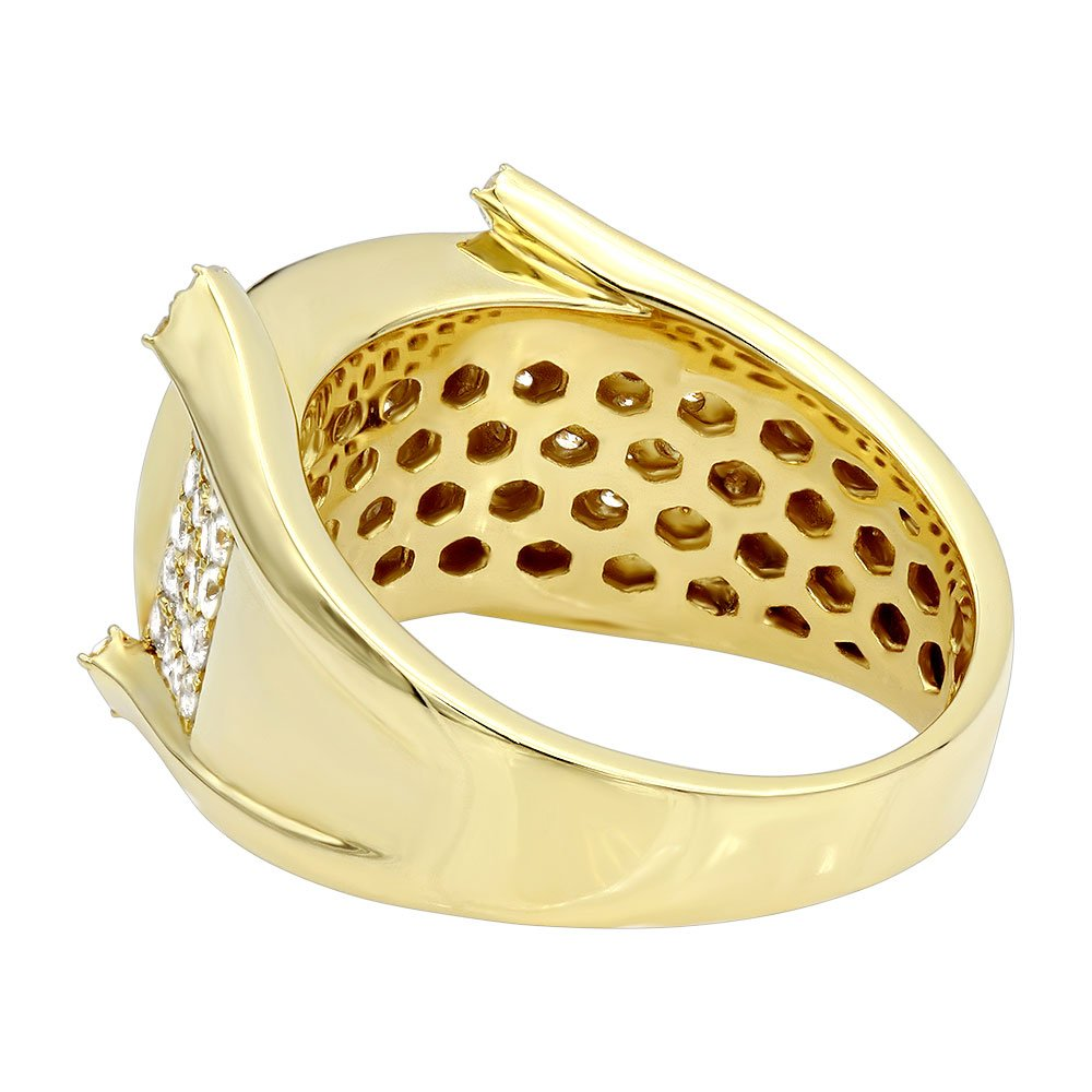 Mens Unique 14K Gold Diamond Band Pinky Ring 1.75ctw (Yellow Gold, Size 11) by Luxurman (Image #2)