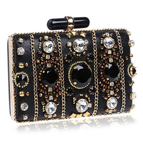 Women And Bag Rhinestone For Black Purse Rhinestone Womens Party Evening Wedding Clutch xpnwBqfAH
