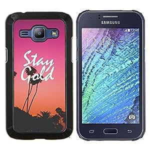EJOOY---Cubierta de la caja de protección para la piel dura ** Samsung Galaxy J1 J100 ** --permanecer oro púrpura puesta de sol los Ángeles