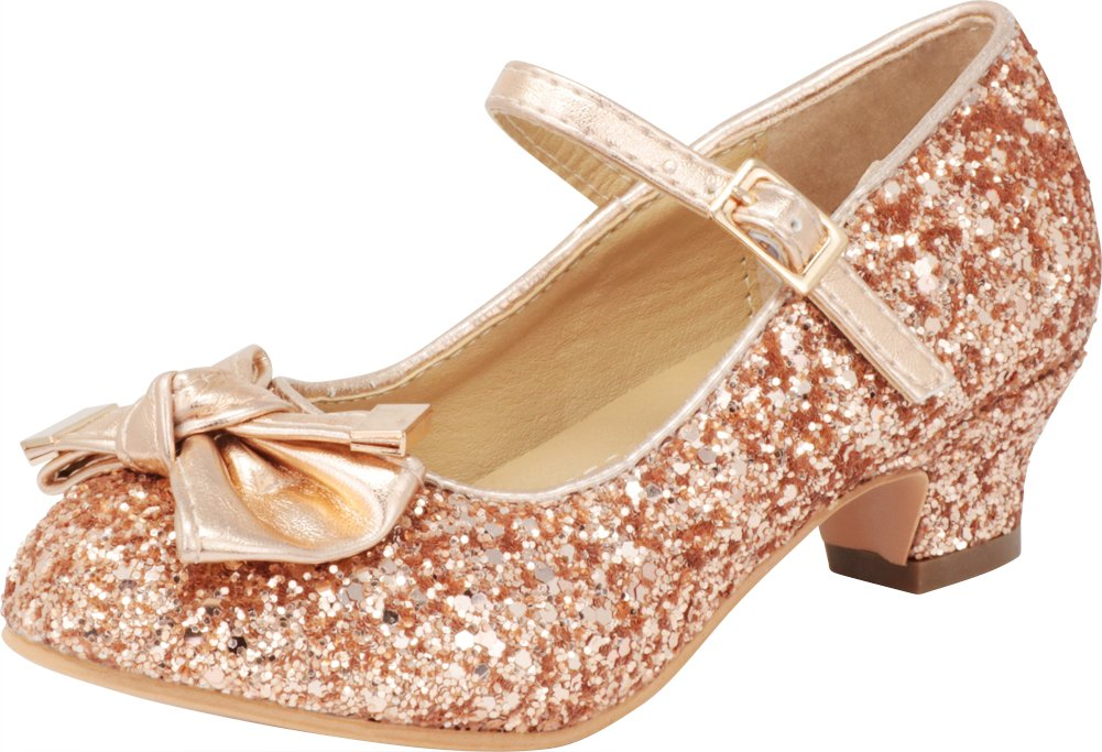 Cambridge Select Girls' Closed Round Toe Glitter Ankle Strappy Bow Low Kitten Heel Pump (Toddler/Little Kid/Big Kid) (11 M US Little Kid, Rose Gold)