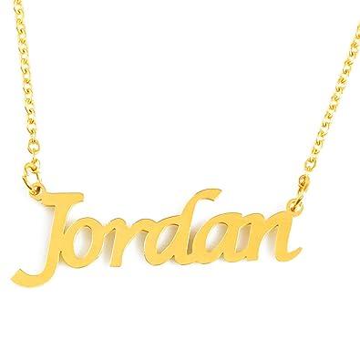 def4f403e85da Amazon.com: Zacria Jordan Custom Name Necklace Personalized - 18ct ...