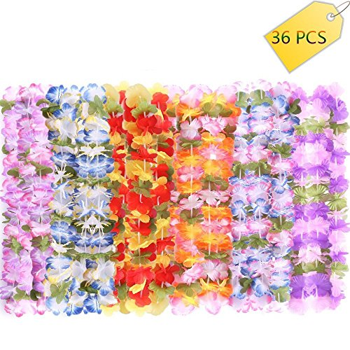 36 Pcs Hawaii Wreaths Leis, Hawaiian Ruffled Simulated Silk Flower Leis Artificial Flowers Necklaces Headband Neck Ring for Luau Party Home Decoration Supplies by Newsheep -