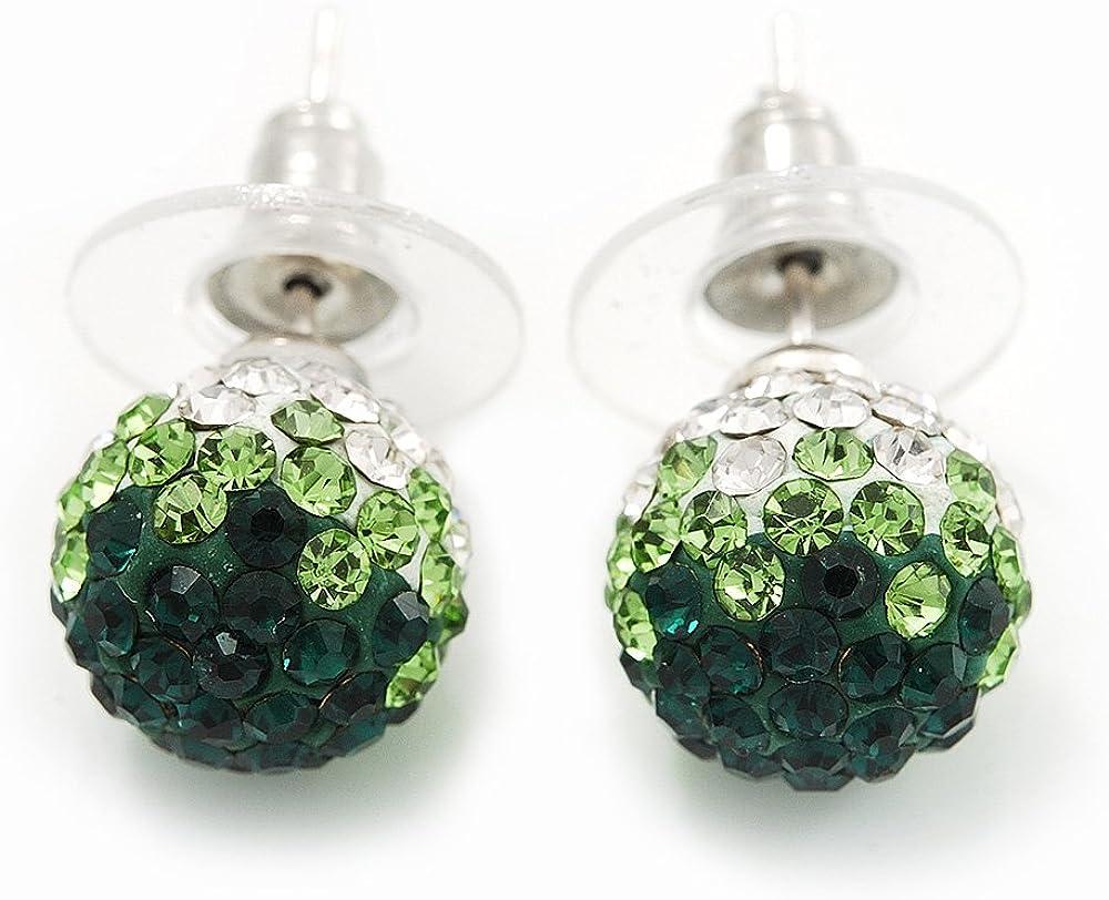 Dormilonas de bola con cristales Swarovski color verde esmeralda/verde pasto/transparente con enchapado de plata