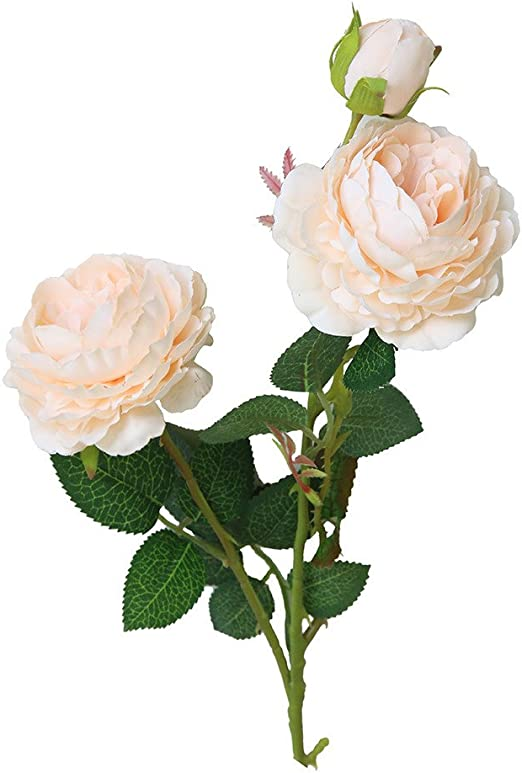 Naranja 1 Unid Flor Artificial de la Peon/ía de rosa Occidental Real Touch Bouquet de Flores Boda Nupcial Seda artificial Flores Falsas hoja Rosa Boda Decoraci/ón Del Hogar