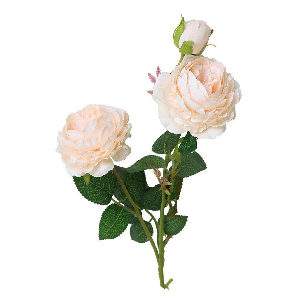 scaling Artificial Rose Silk Fake Western Flower Peony Blossom Bride Bouquet Home Wedding Party Decor (Orange)
