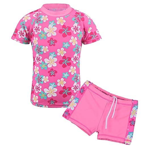 71f623cc83e2a TFJH E Girls Two piece Swimsuit Kids Swimwear UPF 50+ UV Pink Flower 92/