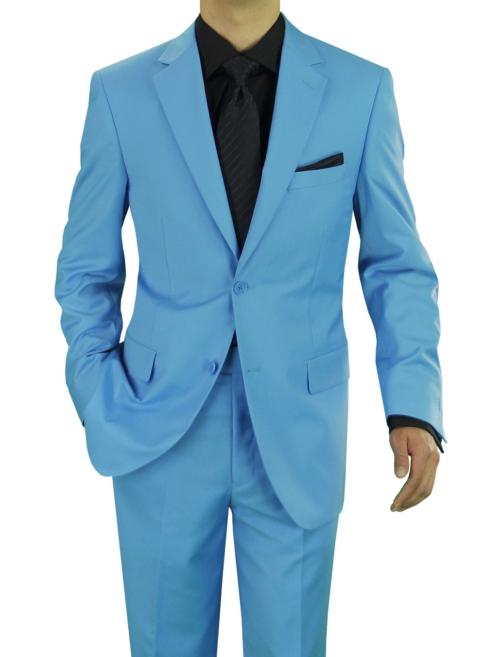 GN GIORGIO NAPOLI Presidential Men's Two Button Suit Sky Blue (42 Regular US / 52R EU/W 36'', Sky Blue)