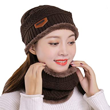 Muryobao Beanie Hat Scarf Set Knitted Hats and Scarves Winter ... c46c32d528c