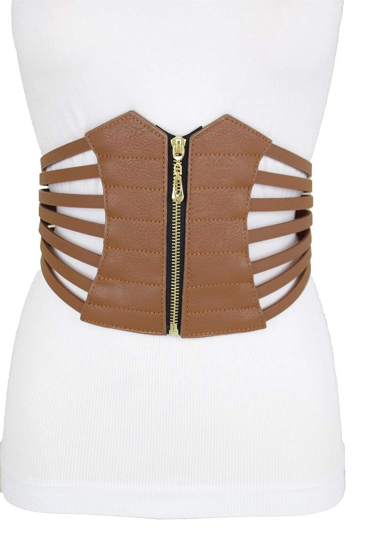 b4be40b2e50 Amazon.com  Women Wide Corset Belt Waist Hip Brown Elastic Faux Leather Plus  Size L XL XXL  Beauty