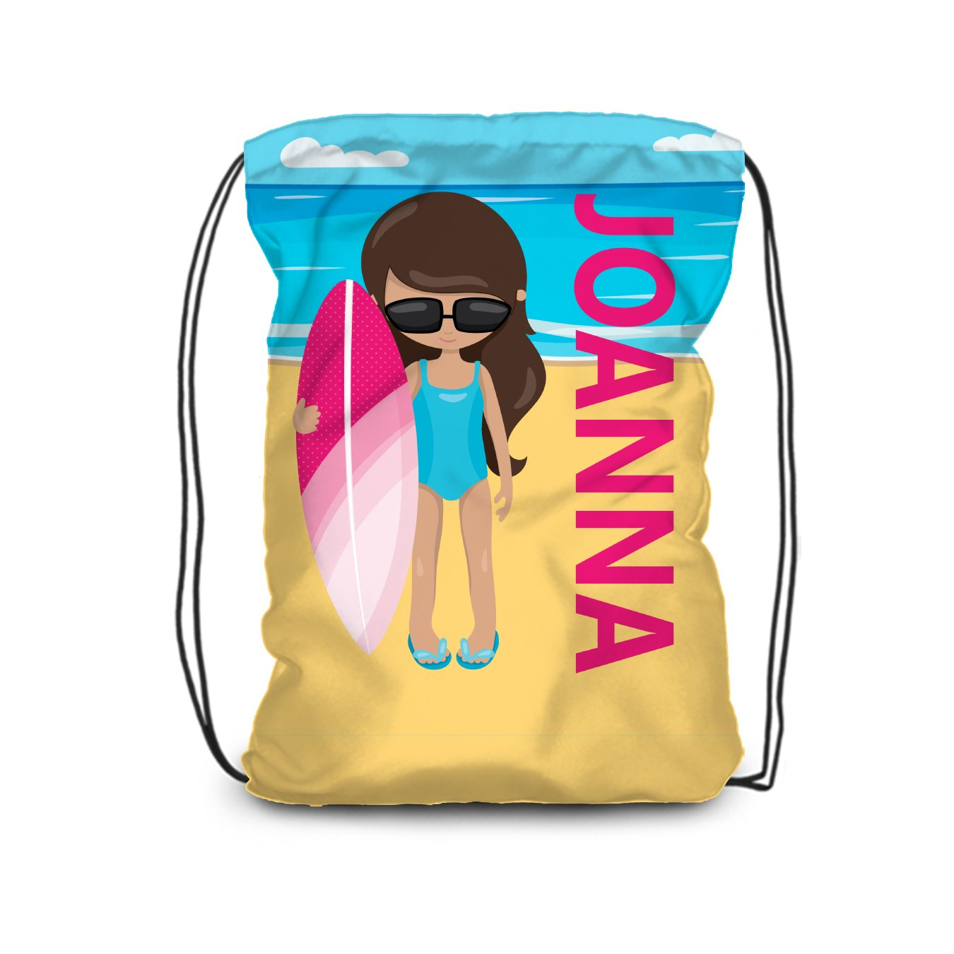 Surf Drawstring Backpack - Sandy Beach Girl Surfer Personalized Name Bag
