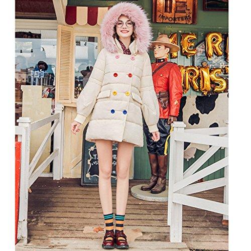 da da Cotone Cotone Cotone Allentato NZ Casuali Beige Giacca Dolce in Colore e Attillati Beige Dimensioni Cappotti Donna S Invernali con Lunghi Lunghi Cappuccio q0X0w