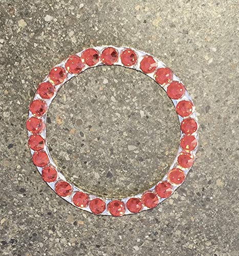 Light Red Crystal Rhinestone Bling Ring Emblem Sticker for Car Buttons, Girl Bling Car Accessories for Auto Start Engine Ignition Button, Key, Car Knobs or Console, Bling for Car Interior (Light Red)