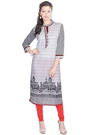 490a3635a25 Vihaan Impex Indian Kurtis for Women Kurti Kurtas for Women Bust Size 38  Inches Multicolor Kurti Grey at Amazon Women s Clothing store