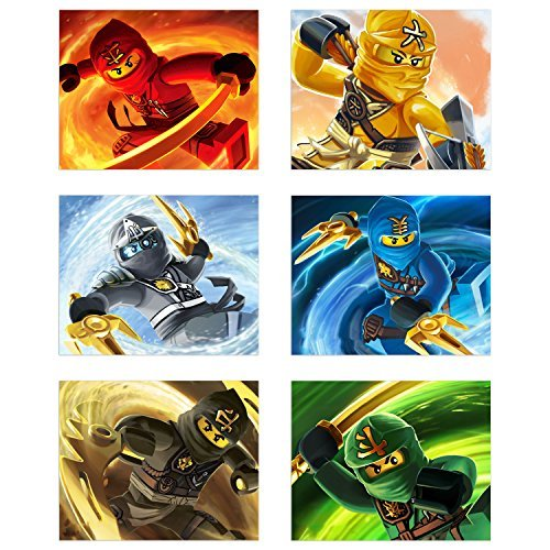 Ninjago (2017) Poster Prints - Set of 6 Ninja Lego Movie Decor Wall Art Photos 8x10 Kai Skyler Lloyd Zane Jay Cole