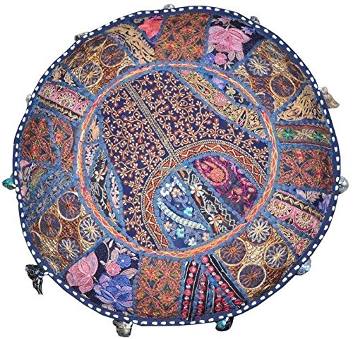Americana decor's Bohemian Patchwork Ottoman Cover vintage Traditional indian pouf cover ''14x22'' cotton decorative chair ''Filler Not Inculded'' (Blue) by Americana decor's