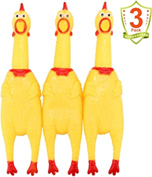 LEGEND SANDY Screaming Chicken,Yellow Rubber Squaking Chicken Toy Novelty and Durable Rubber Chicken for Kids and Dogs,Rubber Chickens Value 3 Pack