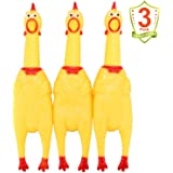 LEGEND SANDY Screaming Chicken,Yellow Rubber Squaking Chicken Toy Novelty and Durable Rubber Chicken for Kids and Dogs…