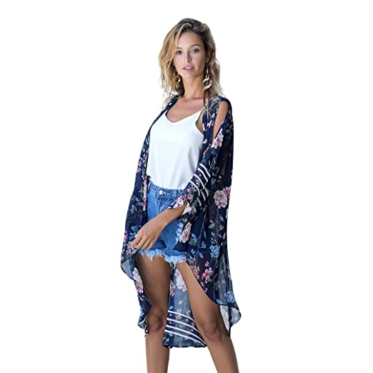 f515333940a15 OneWorld Women's Floral Print Cold Shoulder Chiffon Kimono Cardigan Capes Long  Beach Cover Up(S