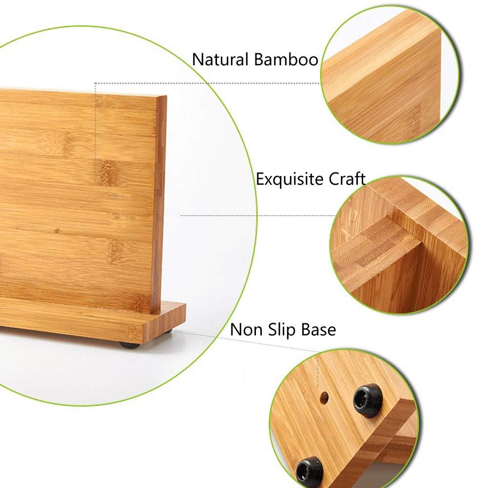 Magnetic Knife Block KitchenKnifeBlock Wooden MagneticKnifeHolder BambooKnifeStand Knife Dock by WOOYAN (Image #3)