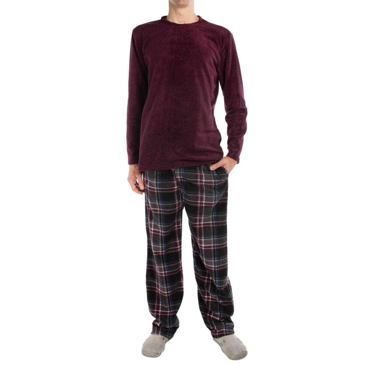 Great 2pc Joe Boxer Men/'s Fleece Pajamas Set Shirt /& Pants PJ Sleepwear Top /& Bottom Color Wine Plaid Size 4XL