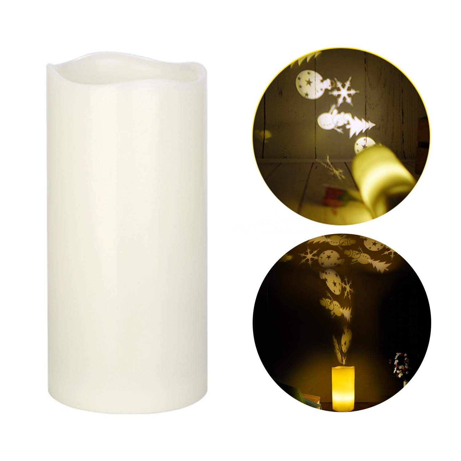 LED Candle, Flameless Candle with Projection Pattern Battery Operated Real Wax Candle for Party, Holiday, Christmas, Wedding Hengjiuyuan Direct