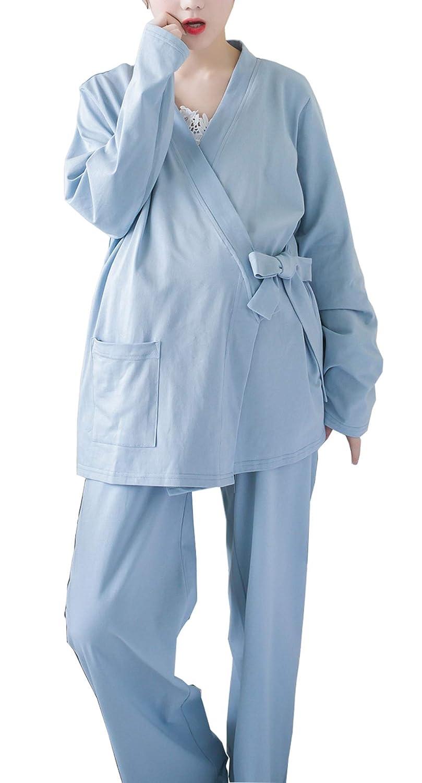 Womens Janpanese Style Nursing Pajamas/pjs & Sleepwear Cotton Loose Maternity Breastfeeding Sleepwear 3-Pieces Set