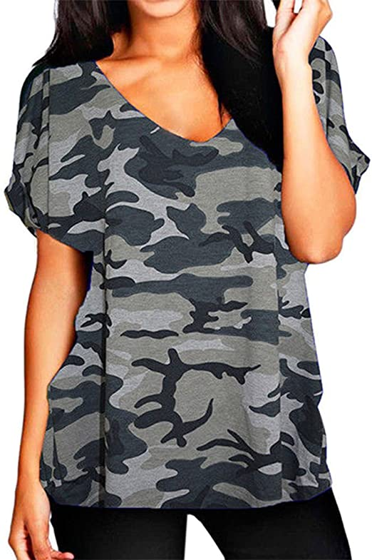 New Women Ladies Printed V Neck Turn Up Short Sleeve Loose Baggy Fit T Shirt Top