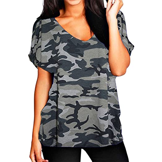 8dba08aa587 GirlzWalk Women s Turn Up Short Sleeve Plain Printed Ladies V Neck Loose  Baggy Fit T-