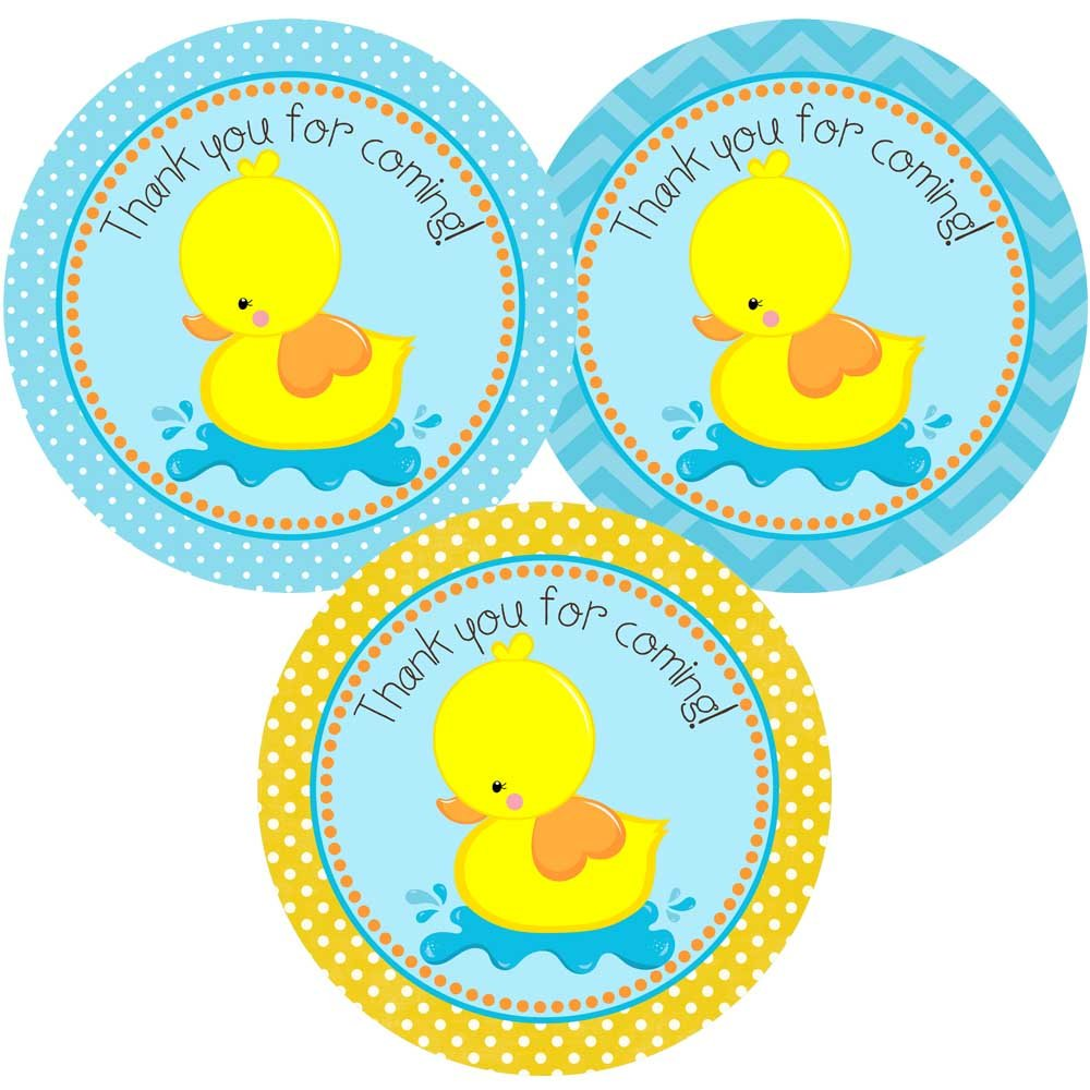 Rubber Duck Thank You for Coming Sticker Labels - Kids Boy Girl Birthday Baby Shower - Set of 30