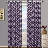 Meridian Purple Grommet Blackout Window Curtain Drapes, Pair / Set of 2 Panels, 52x84 inches Each, by Royal Hotel