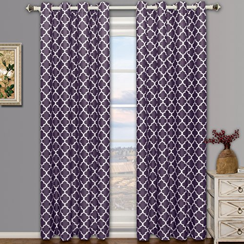 Meridian Purple Grommet Room Darkening Window Curtain Panels, Pair / Set of 2 Panels, 52x63 inches Each, by Royal Hotel