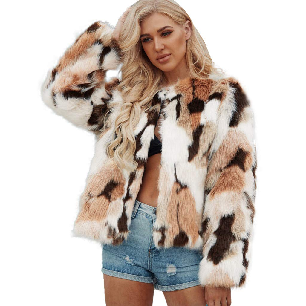 ♫Loosebee♫ Women Winter Warm Fluffy Faux Fur Coat Long Sleeve O-Neck Thick Short Cardigan Jacket Parka Outerwear Khaki by ♫Loosebee♫