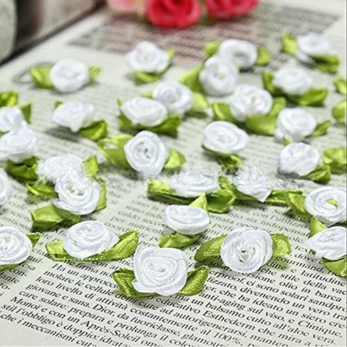- 100 PCS Mini Ribbon Bows Roses Flowers Craft Artificial Ornament Applique Sewing DIY (White)