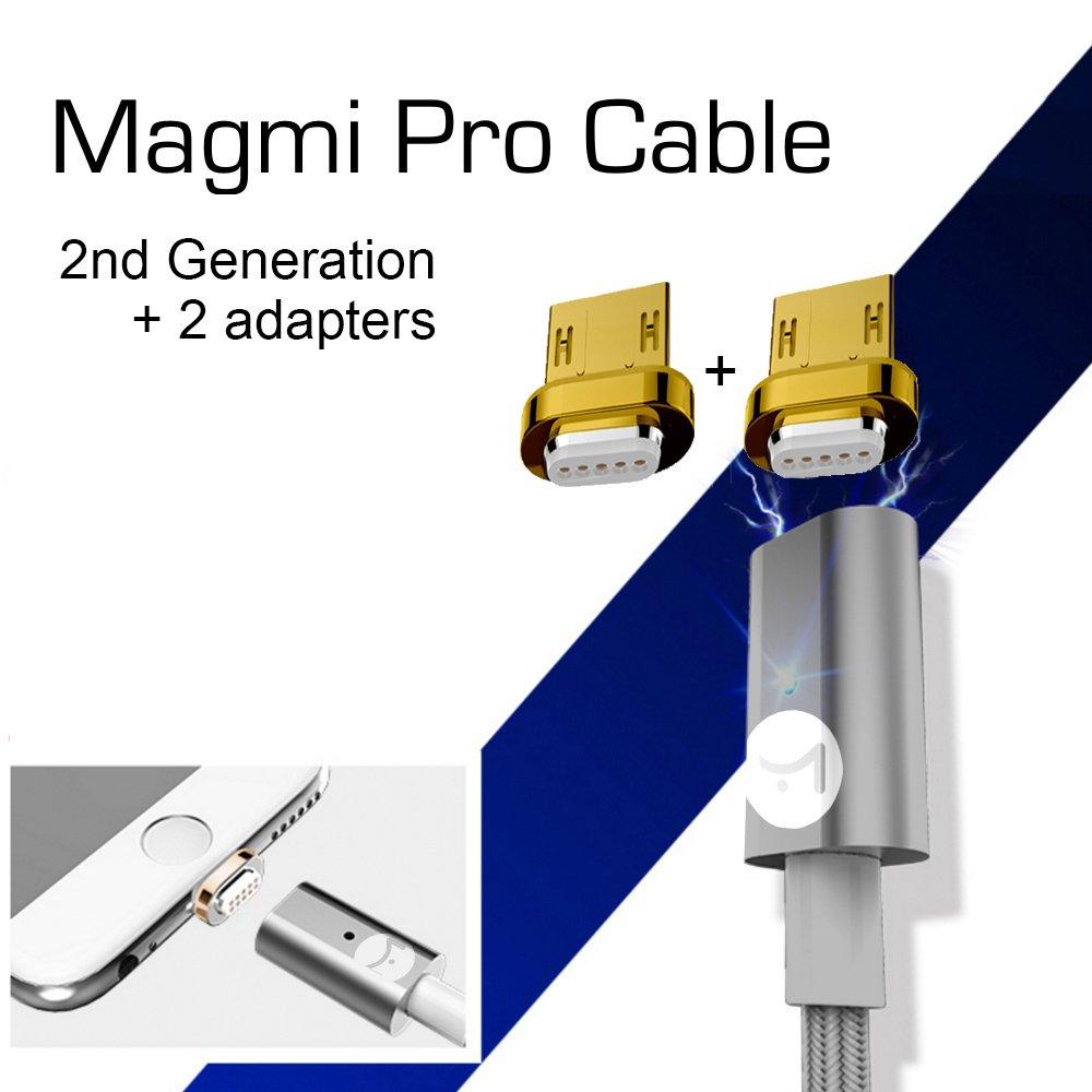 DigitalOME® Magmi Pro Cable con imán magnético para cargador Micro Usb 2.0 para Samsung, Sony, Xiaomi, LG, HTC… - 1,2m 2.4A Dorado