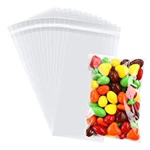 100 Pcs Clear Self Sealing Cello Bags, RFWIN 4 X 6 Inches Self Adhesive Cellophane Treat Bag for Easter Bakery Candy Cookie Snack Prints Photos Cards