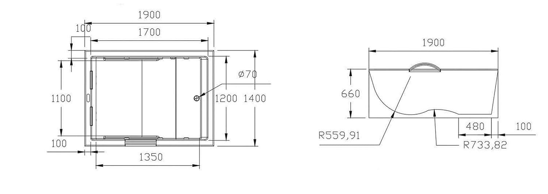 180x130x62 Standbadewanne Eckbadewanne Spiekeroog Indoor NEU inkl Badewanne Rechteck Acryl Armaturen