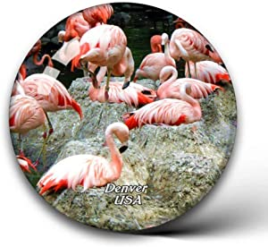 Jollin USA America Flamingo Denver Zoo Fridge Magnets Clear Crystal Glass for Refrigerator City Travel Souvenirs Funny Whiteboard Home Decorative Sticker Collection Gifts Round Magnet