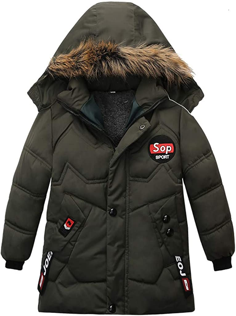 WOCACHI Boys Parka Jacket Sale, Fashion Coat Children Winter Jacket Coat Boy Jacket Warm Hooded Kids Clothes New Born Birth Knitted Rib Boatneck Turtleneck Cute Cartton Patern Blanket u-Neck