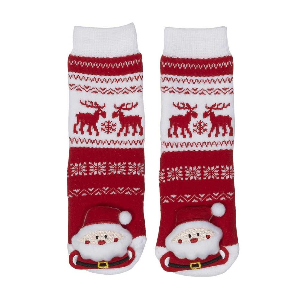 Lil Traveller Baby Socks Santa Clause with Canadian Moose Motif and Rubber Tread Parkdale Novelty
