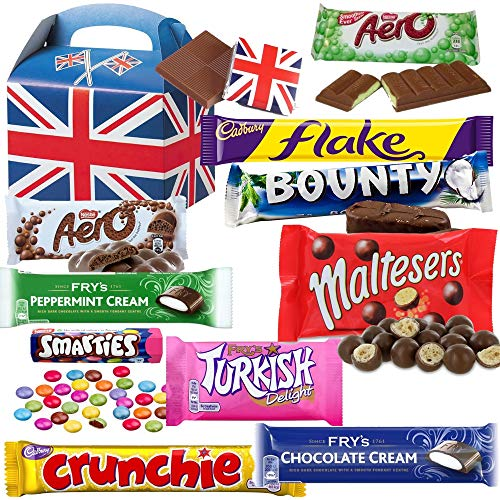 British Chocolate Bar Selection Box - 10 FULL SIZE Chocolate bars of delicious Chocolate candy from the UK with unique Gift Box and a free British Chocolate. (Chocolate Canada)