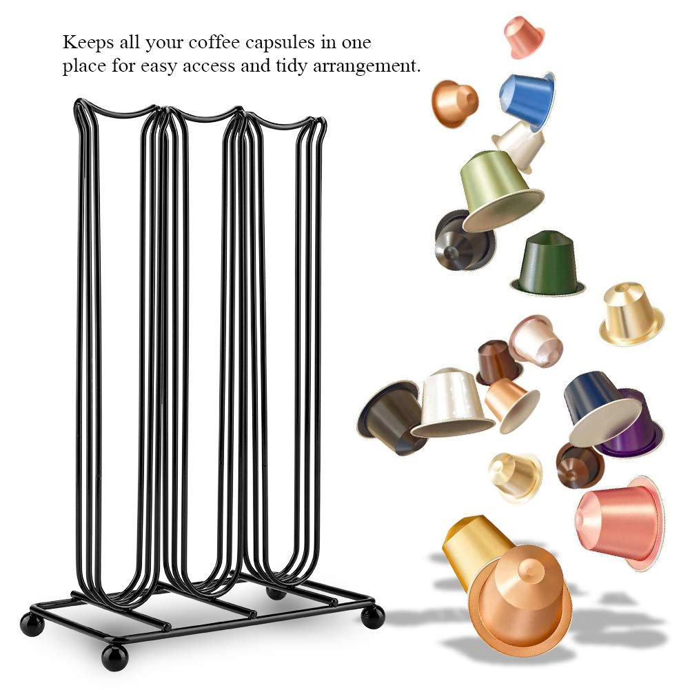 Coffee Capsule Pod Holder Compatible for Nespresso Capsules Wall Mounted Storage Rack and Capsule Dispenser Stores up to 42 Pods
